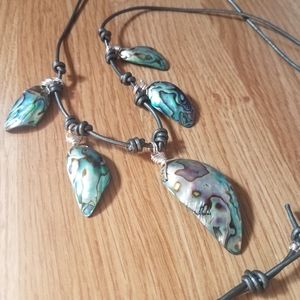Abalone Metallic Grey Knotted Leather Necklace